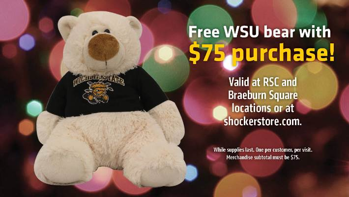 Free holiday bear with purchase of $75 or more.