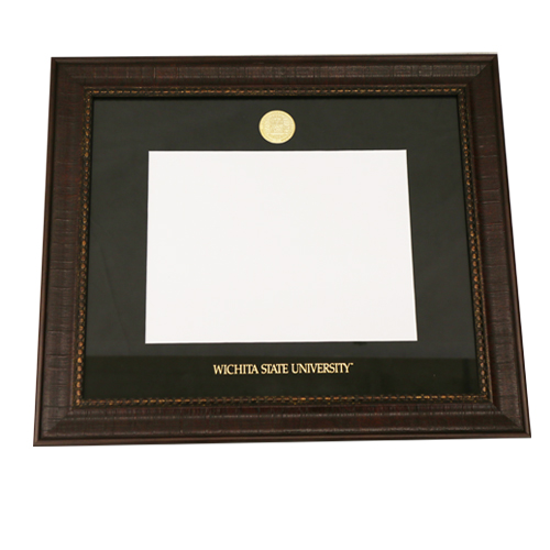 Image For Leathered Wood Diploma Frame W/ Medallion