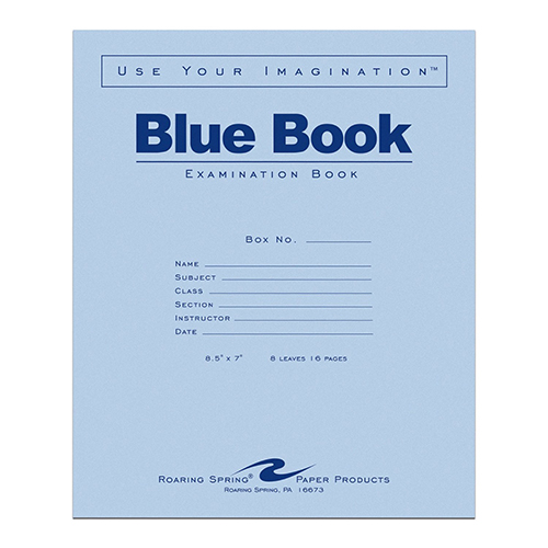 "Cover Image For Blue Book Small 8.5"" x 7"""