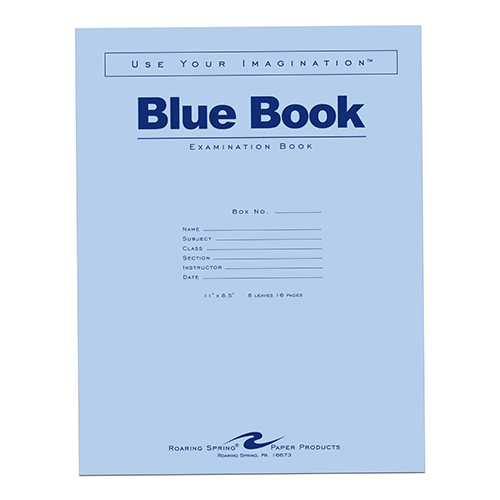 "Image For Blue Book Large 11"" x 8.5"""