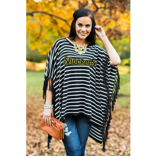 Image For Gameday Fringed Poncho