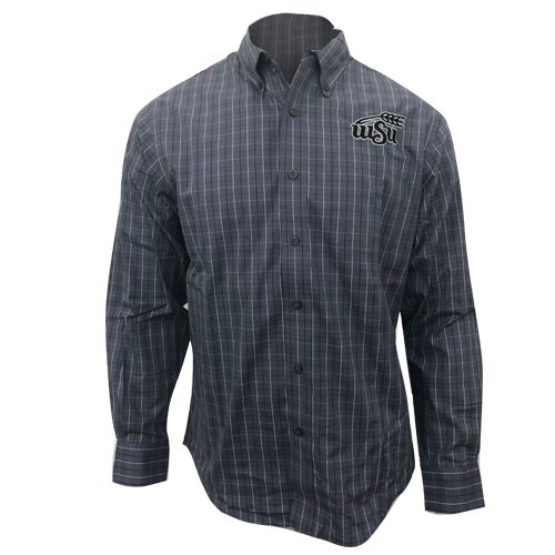 Image For Port Authority Monochrome Plaid Dress Shirt with Wheat Logo