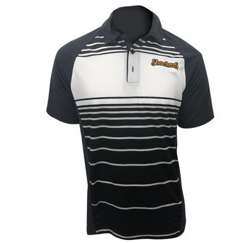 Image For Sport-Tek Polo Solid Back with Striped Front Shockers Script