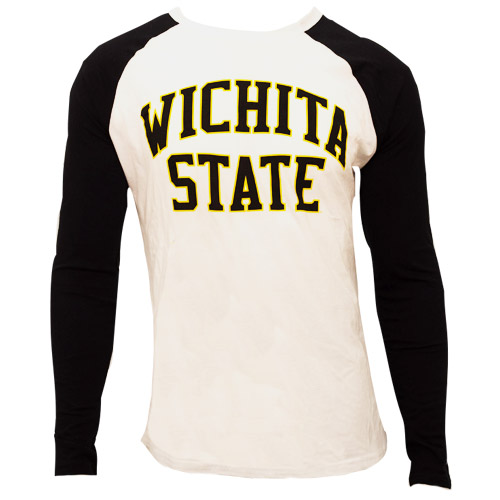 Image For Long Sleeve Black and White Raglan- Arched Wichita State