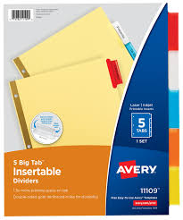 Image For AVERY 5 TAB INSERTABLE